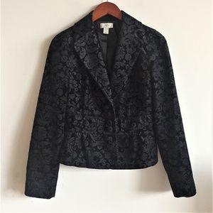 LOFT Velvet Brocade Black Blazer Jacket